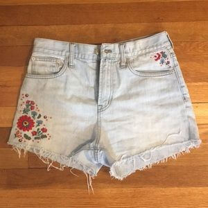 Madewell Floral Embroidered Jean Shorts